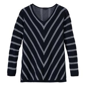 Damen-Pullover mit Streifendesign, große Größen