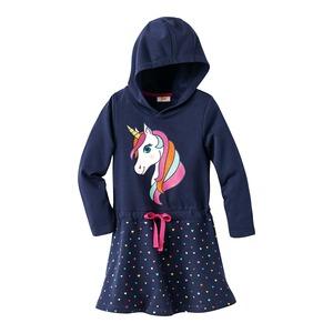 Kinder-Mädchen-Sweatkapuzenkleid mit zauberhaftem Einhorn-Motiv