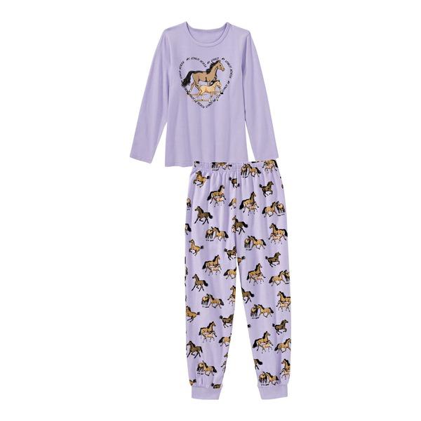 Mädchen-Schlafanzug mit Pferde-Motive, 2-teilig