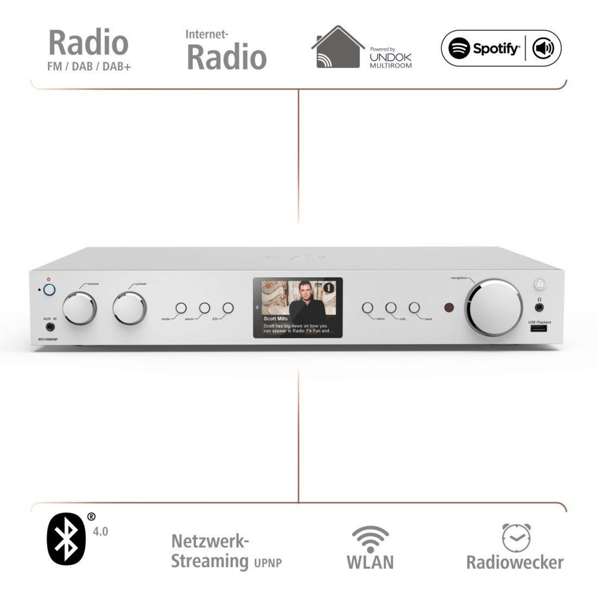 Bild 3 von Hama Digitaltuner, DAB+ Digitalradio/Internetradio/Bluetooth/USB »Aux/DIT2100MSBT«