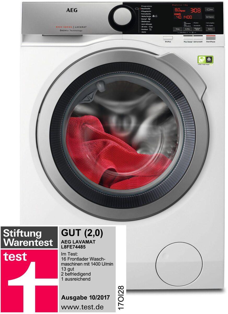 Bild 3 von AEG Waschmaschine Serie 8000 LAVAMAT L8FE74485, 8 kg, 1400 U/Min, ÖKOMix - Faserschutz
