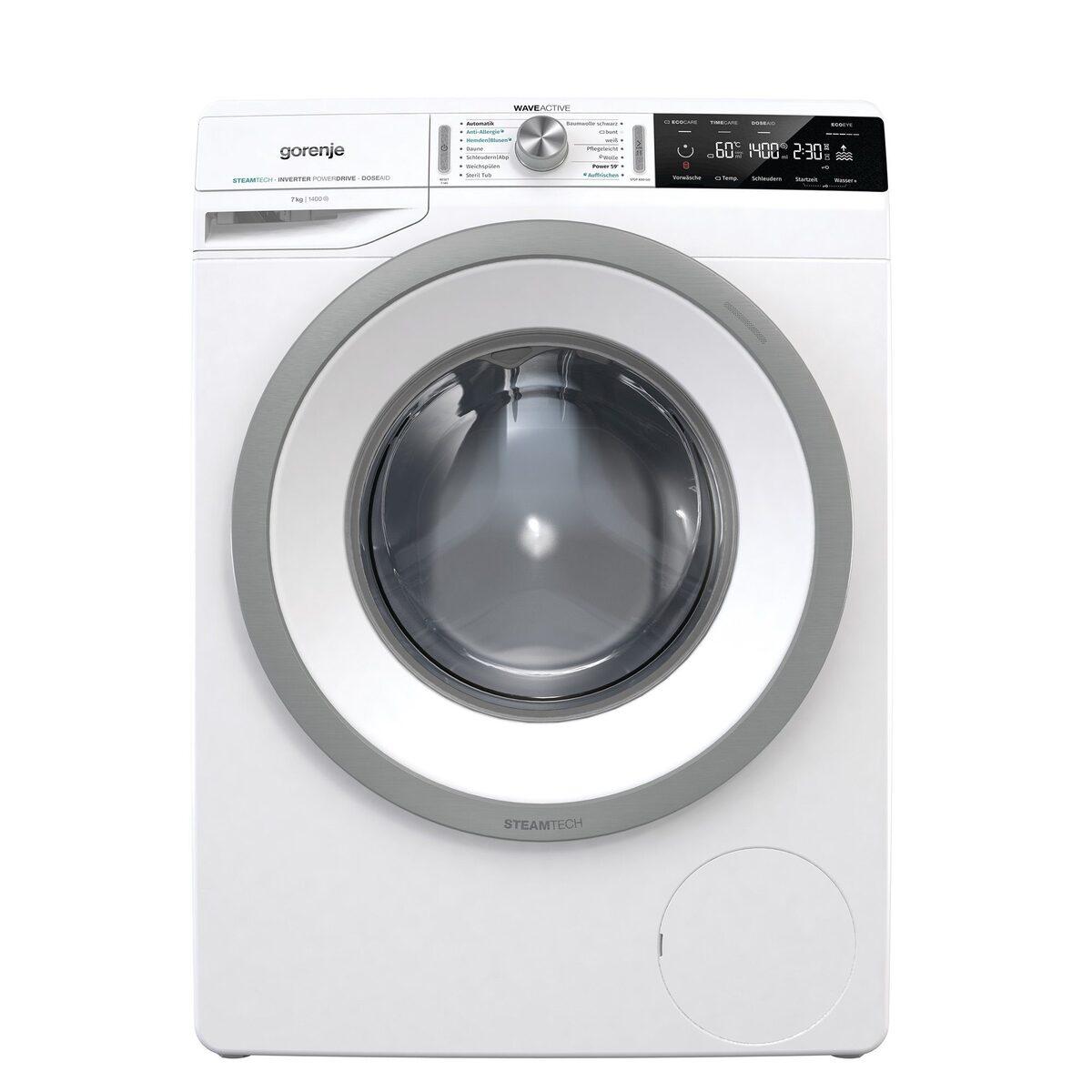 Bild 1 von GORENJE Waschmaschine WA74S3PS, 7 kg, 1400 U/Min, LED Display WaveActive Trommel Inverter PowerDrive Motor