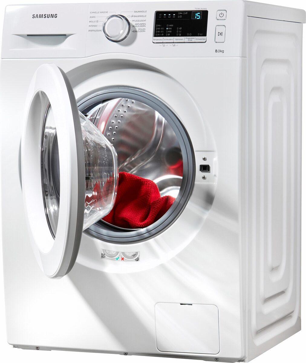 Bild 2 von Samsung Waschmaschine WW3000 WW80J3470KW, 8 kg, 1400 U/Min, Pflegetrommel