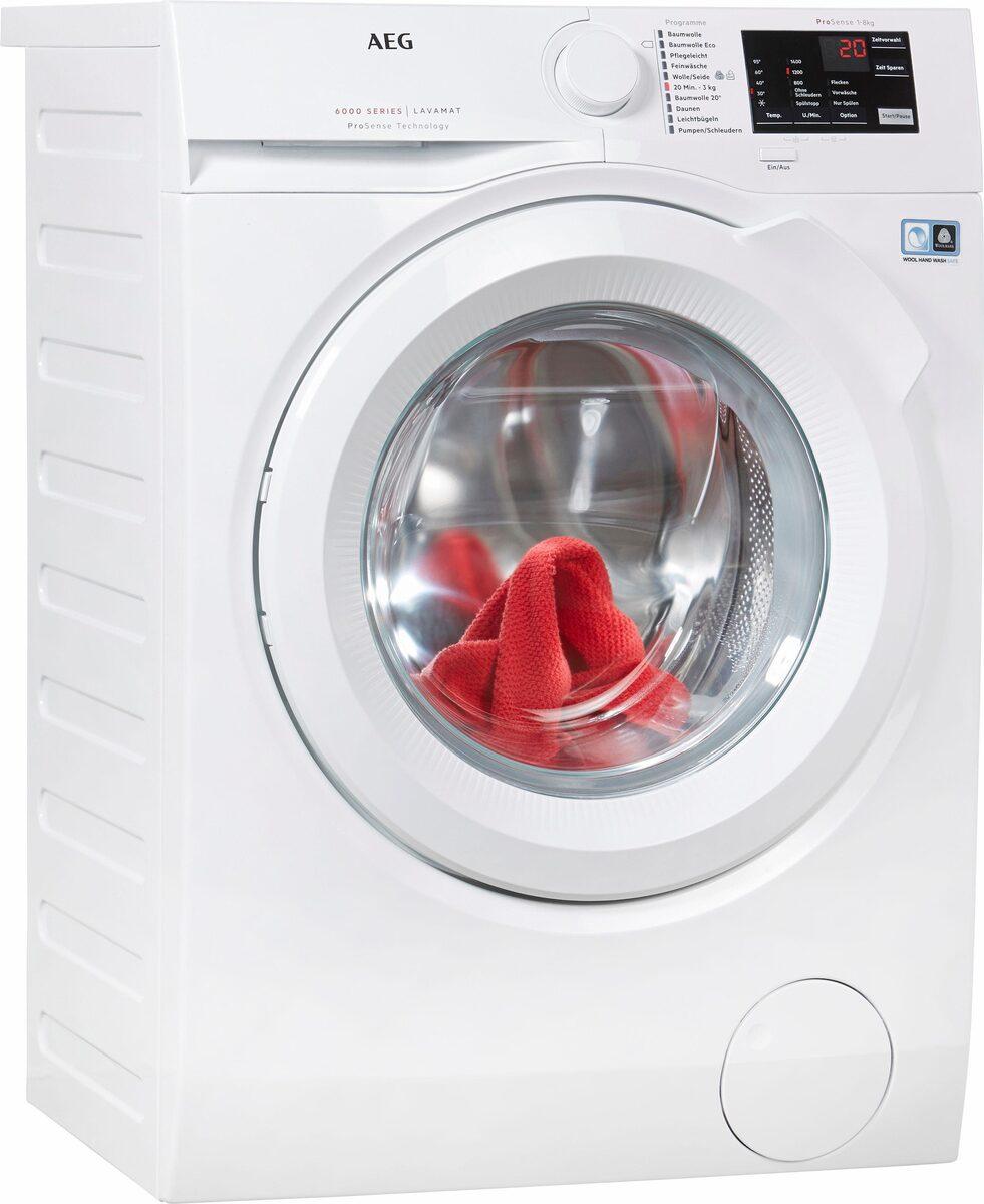 Bild 1 von AEG Waschmaschine LAVAMAT L6FB54480, 8 kg, 1400 U/Min, ProSense - Mengenautomatik