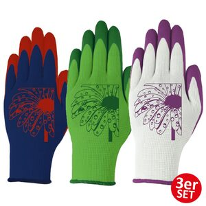"Powertec Garden Gartenhandschuhe ""Tira"" grüne Blume/lila Blume/blau-rote Blume Größe XL"