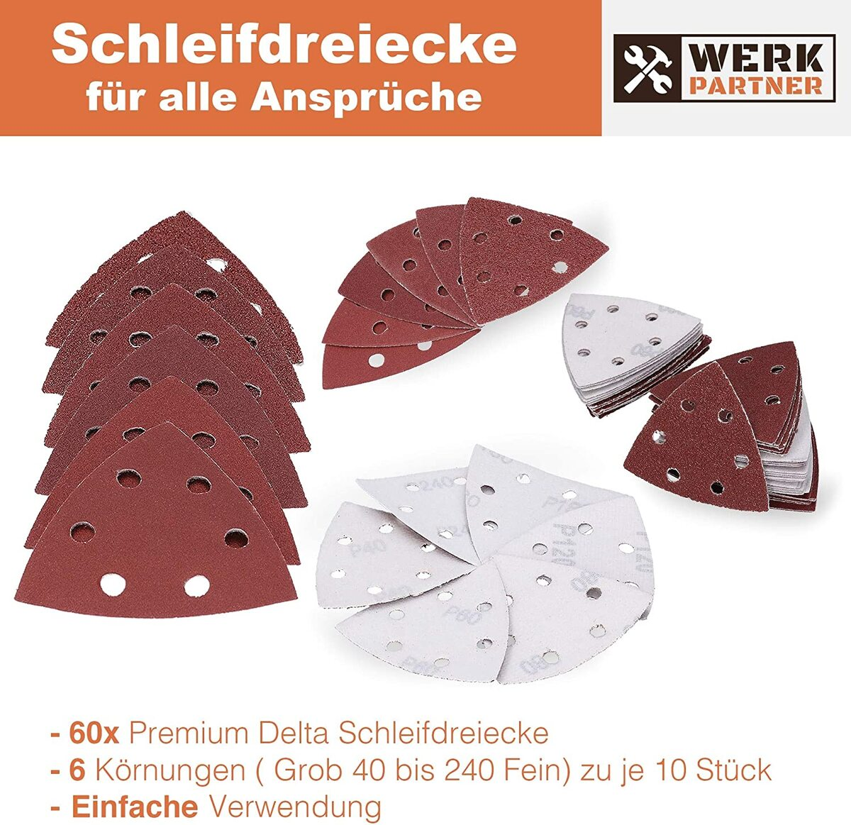 Bild 3 von Werk-Partner Dreieck Schleifscheiben 93 x 93mm - 60er