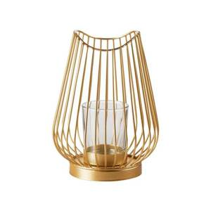 Windlicht S Metall Gold 12 x 12 x 17,5 cm