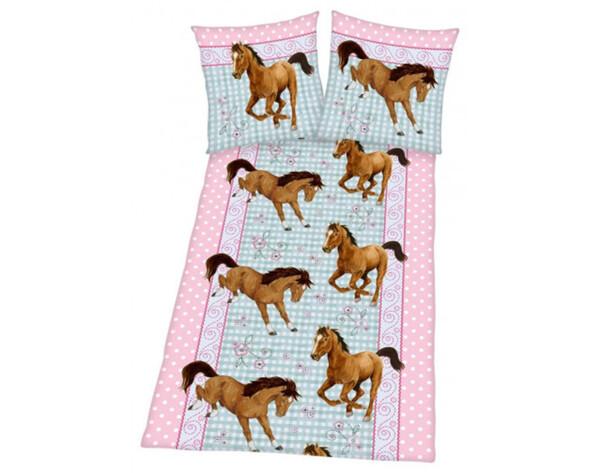 Baumwoll Bettwäsche Linon Pferde 135 x 200 cm