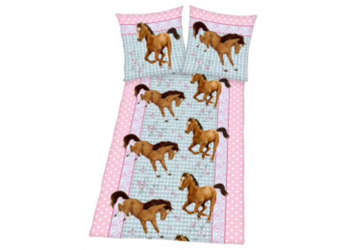 Bild 2 von Baumwoll Bettwäsche Linon Pferde 135 x 200 cm