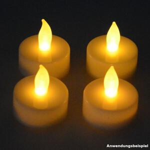 LED Teelichter 4 Stück weiß flackernd