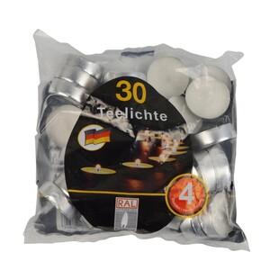 Wachs Teelichter Set 30 Stück mit 39 mm in weiß