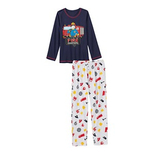 Jungen-Schlafanzug mit Feuerwehr-Muster, 2-teilig