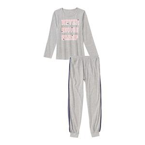 Mädchen-Schlafanzug in Melange-Optik, 2-teilig