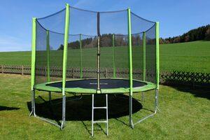 STAMM SPORTS Gartentrampolin, Ø 427 cm, (3), Anti-Roll-Over-Schutz, farbig verkleidete Netzpfosten