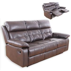 3-Sitzer Sofa - dunkelbraun - Kunstleder - Relaxfunktion