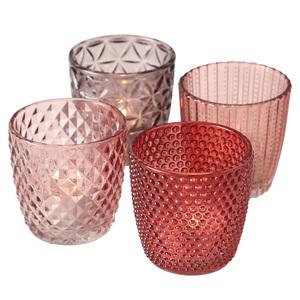 4-teiliges Windlicht-Set - rosa-rot - 7,5 cm