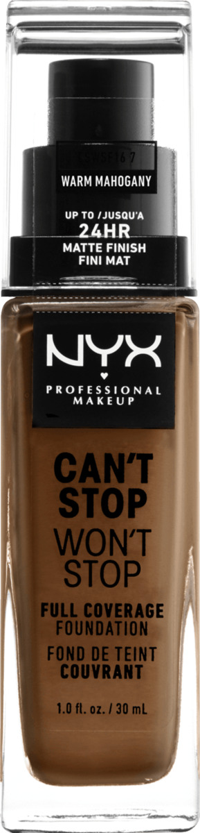 Bild 1 von NYX PROFESSIONAL MAKEUP Make-up Can't Stop Won't Stop 24-Hour Foundation warm mahogany 16.7