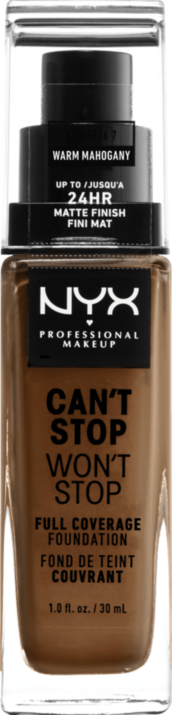 NYX PROFESSIONAL MAKEUP Make-up Can't Stop Won't Stop 24-Hour Foundation warm mahogany 16.7