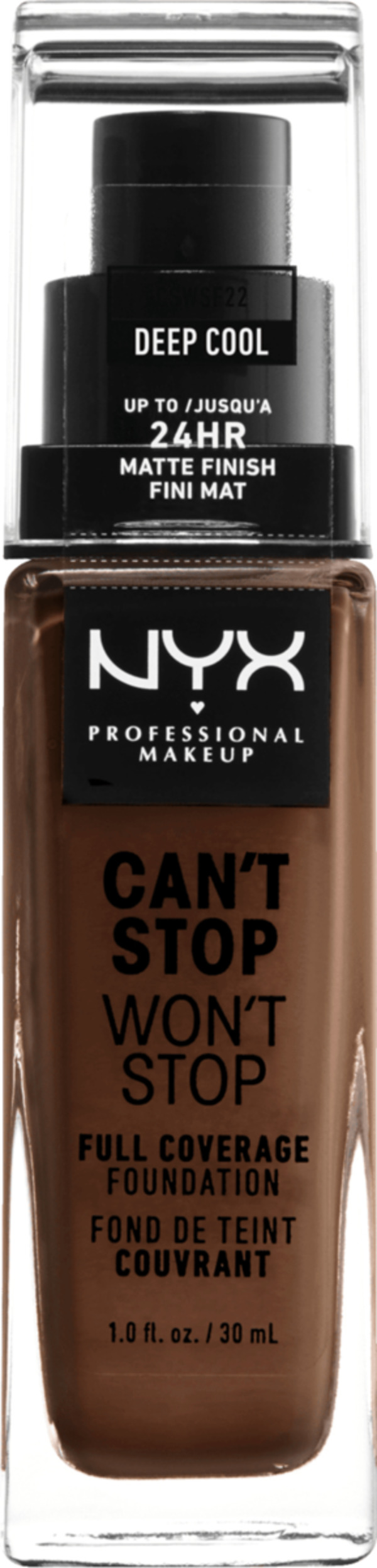 NYX PROFESSIONAL MAKEUP Make-up Can't Stop Won't Stop 24-Hour Foundation deep cool 22