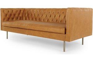 Julianne 3-Sitzer Sofa, Premiumleder in Sienabraun - MADE.com