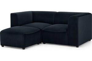 Juno modulares 2-Sitzer Sofa mit Hocker, Samt in Abendblau - MADE.com