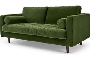 Scott breites 2-Sitzer Sofa, Samt in Grasgruen - MADE.com