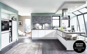 Nobilia - Einbauküche Fashion in alpinweiß, Siemens-Geschirrspüler