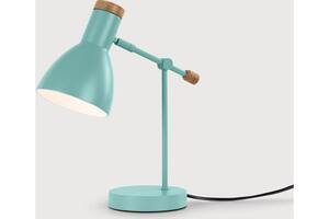 Cohen Nachttischlampe, Tuerkis und Eiche - MADE.com