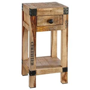 Carryhome Beistelltisch sheesham massiv quadratisch naturfarben , Juliana , Holz , 1 Schubladen , 30x60x30 cm , Natur,Echtholz , 000377003702