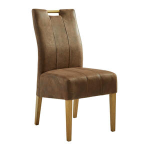 Celina Home Stuhl eiche massiv braun, eichefarben , Vigo 1 , Holz, Textil , Uni , 48x96x61 cm , lackiert,Echtholz , Stoffauswahl , 002229007701