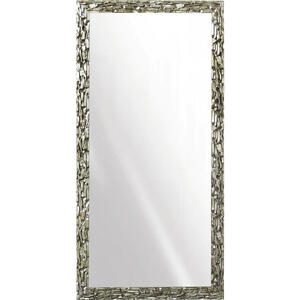 Xora Wandspiegel silberfarben , Monza , Glas , massiv , 95x195x4 cm , Dekorfolie,Echtholz , senkrecht und waagrecht montierbar , 000605000501