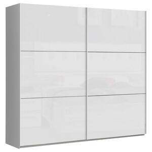 Carryhome Schwebetürenschrank 2-türig weiß , Leader , Holzwerkstoff , 220x209.7x61.2 cm , Hochglanz,Nachbildung , umfangreiches Zubehör erhältlich, in verschiedenen Größen erhältlich,umfangre
