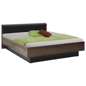 Carryhome Bett 180/200 cm , Baveno , Schwarz, Eichefarben , 180x200 cm , Lederlook,Nachbildung , 000687019002