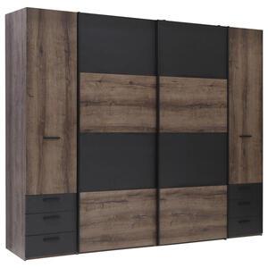 Carryhome Kleiderschrank 4-türig schwarz, eichefarben , Baveno , Holzwerkstoff , 8 Fächer , 6 Schubladen , 270.3x223x61.2 cm , Nachbildung , Beimöbel erhältlich,Beimöbel erhältlich , 0006870190