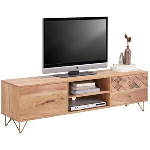 Ambia Home Lowboard akazie naturfarben , Milano   -Ambia Home- , Holz, Metall , 2 Fächer , 2 Schubladen , 160x45x35 cm , Echtholz, Nachbildung , 001944001103