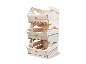 HABAU Holzkiste 3er-Set, 27x38x20 cm, naturbelassen, stapelbar, Kiefer Massivholz