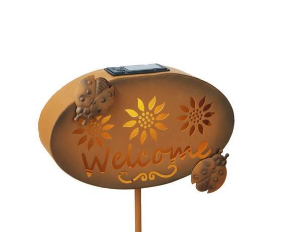 """Solar Willkommensschild """"Welcome"""" mit LED Licht Easymaxx"""