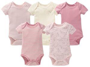 LUPILU® PURE COLLECTION Baby Body Mädchen, Bio-Baumwolle, Feinripp-Qualität, 5 Stück