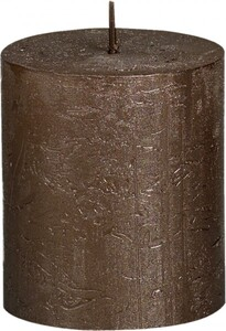 Bolsius Rustik Stumpenkerze Metallic ,  braunes kupfer, Höhe: 8 cm, Ø 6,8 cm