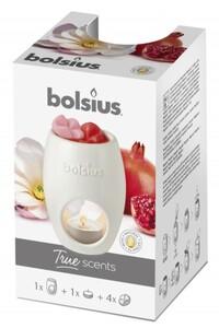 Bolsius Wax Melts Starterpack True Scents mit 4 Melts und Teelicht Magnolie & Granatapfel