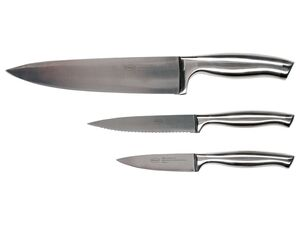RÖSLE Messer-Set, 3-teilig, mit Edelstahlgriff, Klinge aus Spezial-Klingenstahl