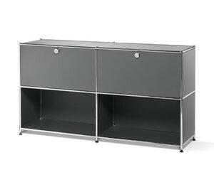 Metall-Sideboard mit 2 versetzbaren Klappenfächern