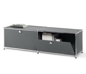 Metall-Lowboard mit 2 Klappenfächern