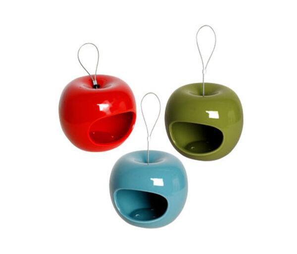 3 Dobar-Keramik-Futterspender in Apfelform