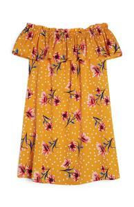 Senffarbenes Kleid mit Blumenmuster (Teeny Girls)