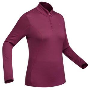 Merinoshirt Langarm Trek 500 Zip Damen violett