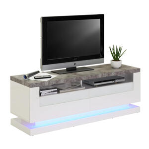 Carryhome Lowboard lackiert grau, weiß , Miami , Glas , 2 Schubladen , 140x50x40 cm , lackiert,rückseitig bedruckt,Nachbildung , 002239022201