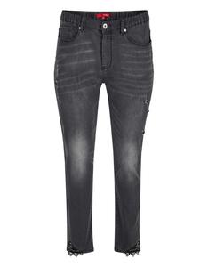 THEA - Jeans-Hose mit destroyed-effect, Dekoperlen und Spitze