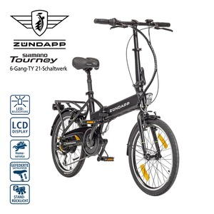 Alu-Falt-E-Bike Green 1.0 20er - Fahrunterstützung bis ca. 25 km/h, 3 Unterstützungsstufen - Li-Ionen-Akku 36 V/7,2 Ah, 259 Wh - Reichweite: bis ca. 45 km (je nach Fahrweise) - Drehgriffschalter -