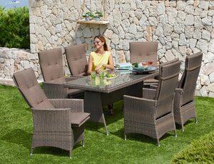 MERXX Gartenmöbelset »Valencia«, 13-tlg., 6 Relaxsessel, Tisch 150x80 cm, Polyrattan